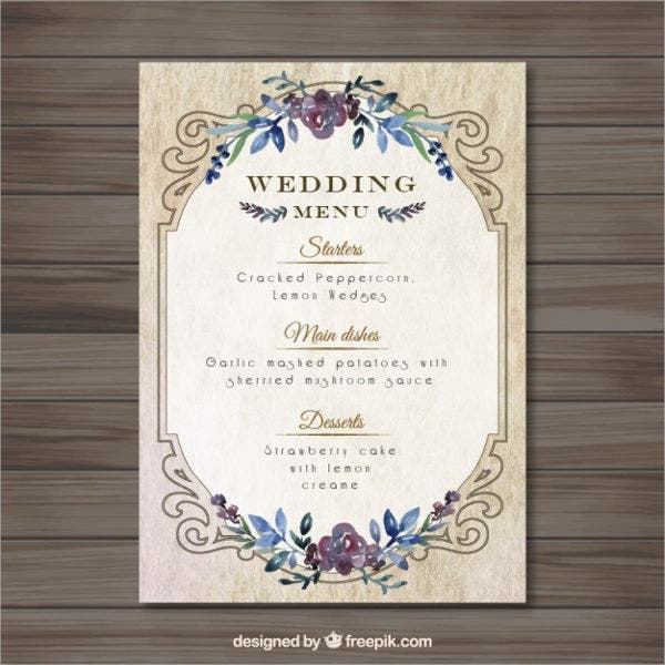 free wedding menu card