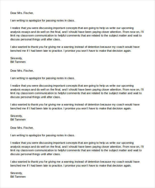 apology letter format to teacher