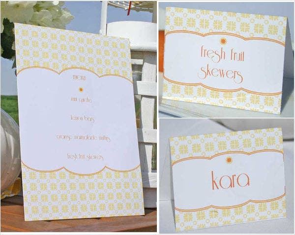 free menu place card