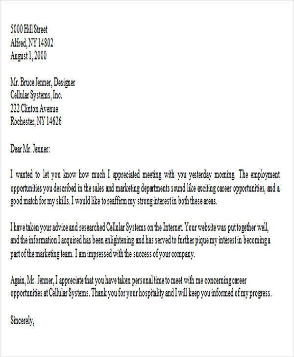 Thank You Letter After Job Interview Architecture