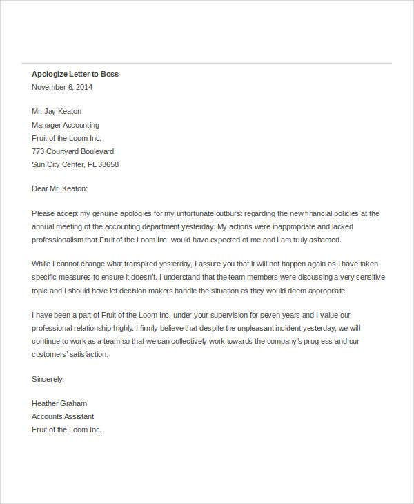 apology letter to boss for not showing up apology letter templates in word 26 free word pdf 29088 | Formal Apology Letter to Boss1