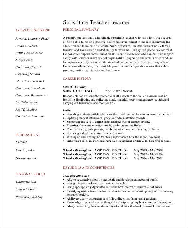 teacher job resume example substitute teacher job