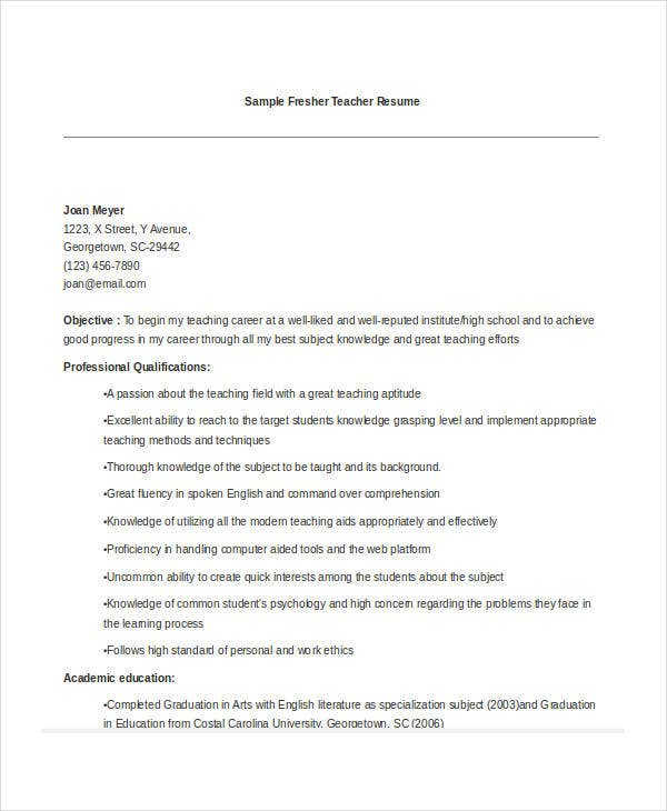 great teacher resumes