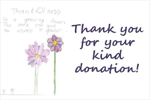 thank you donation card