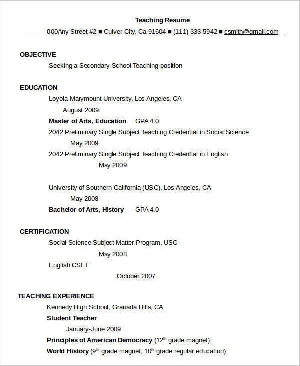 Sample Resume For Teacher In Word Format
