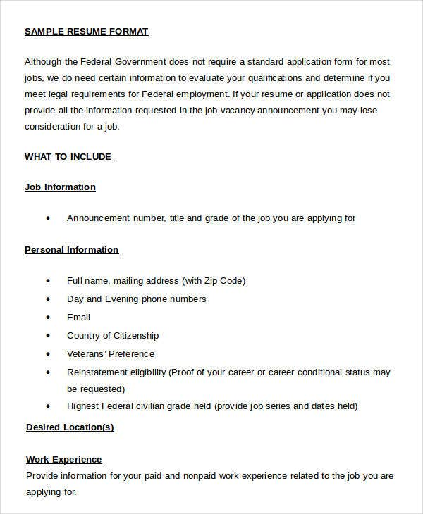 free sample resume format in word document - Resume Format In Word Format