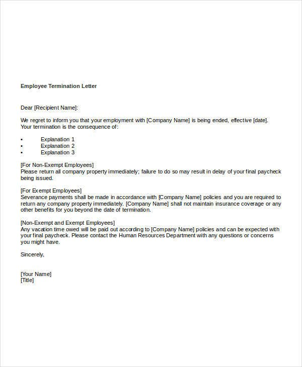 Free Termination Letter Templates 54 Free Word PDF Documents – Sample Employee Termination Letter