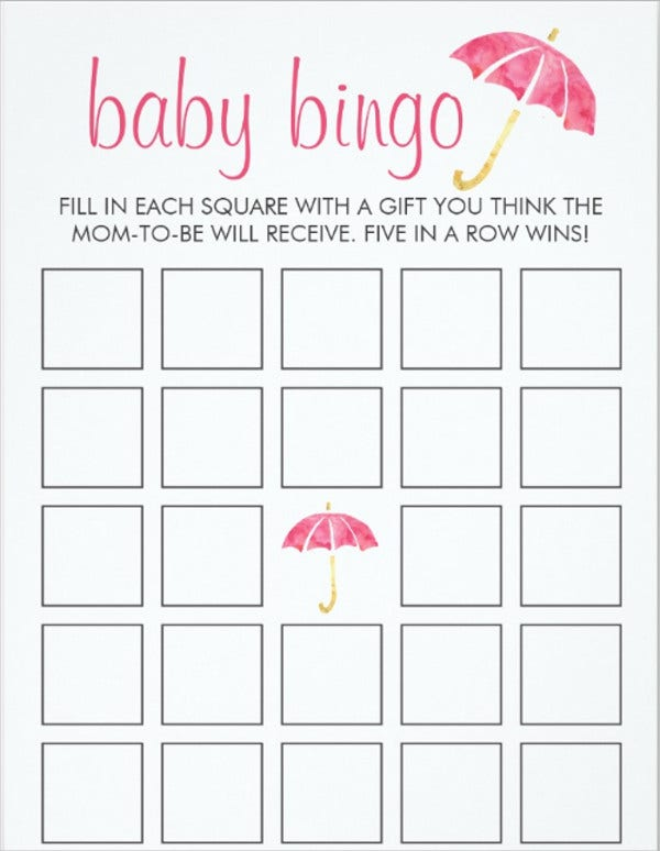 free baby printable bingo card