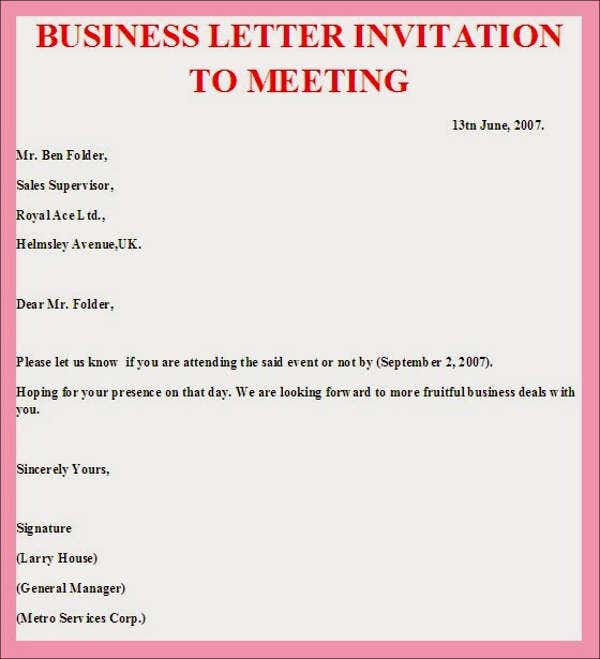 Business Meeting Invitation Email Samples – Business Invitation Template