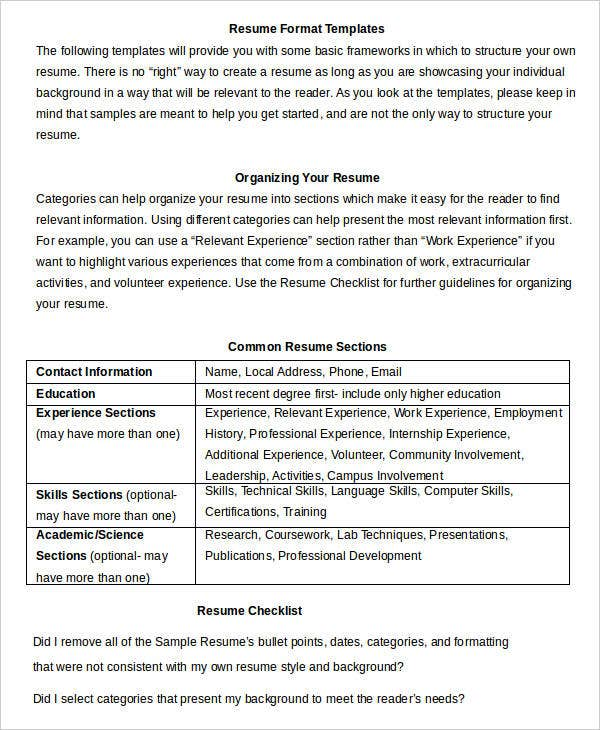 word format for resumes