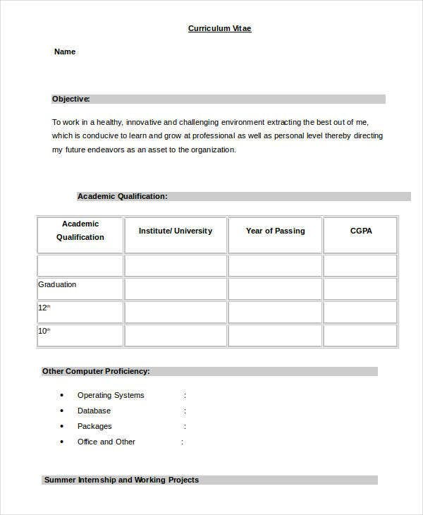 beau Simple Resume Format for Freshers in Word