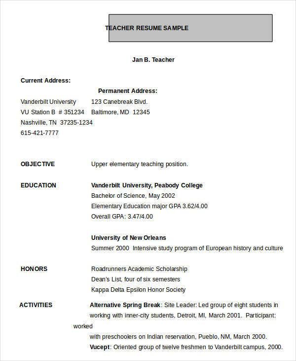 school teacher resume format in word