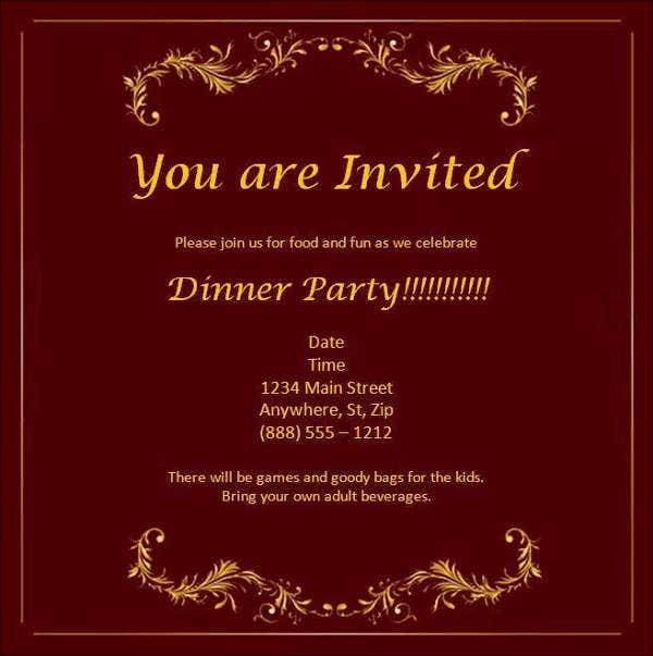 Dinner Invitation Card Template