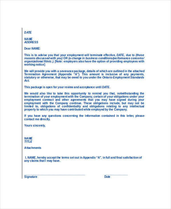 printable employee termination letter