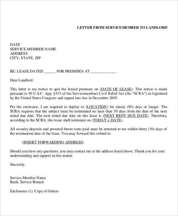 landlord lease termination letter