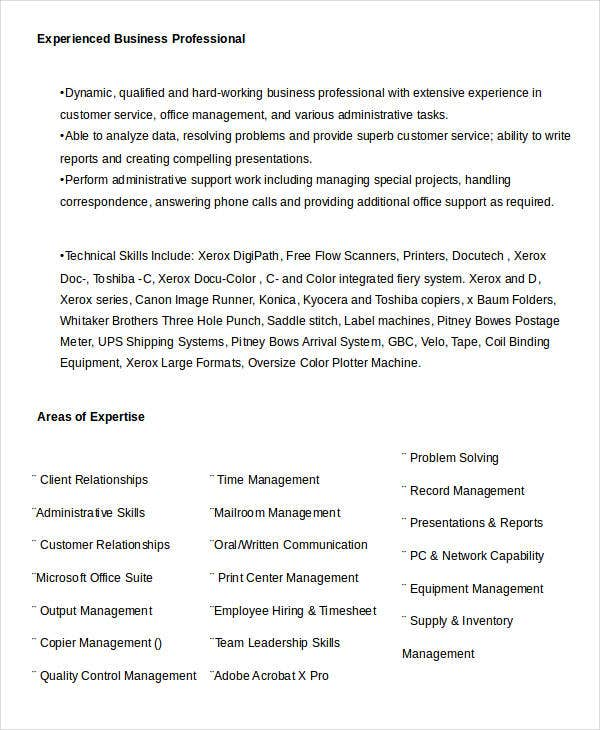 experienced business professional resume