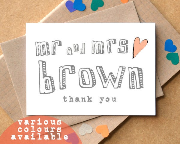 personalised thank you wedding cards