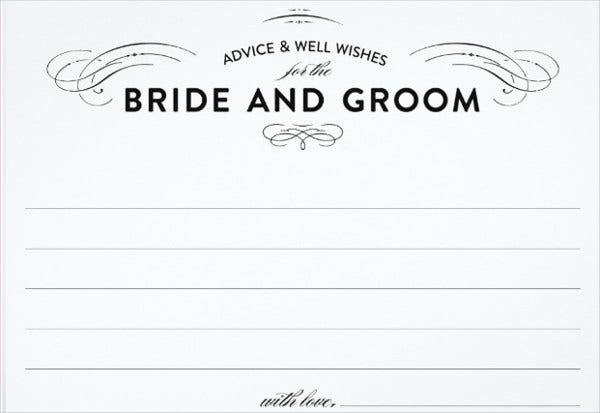 63 wedding card templates free premium templates for Bridal shower advice cards template