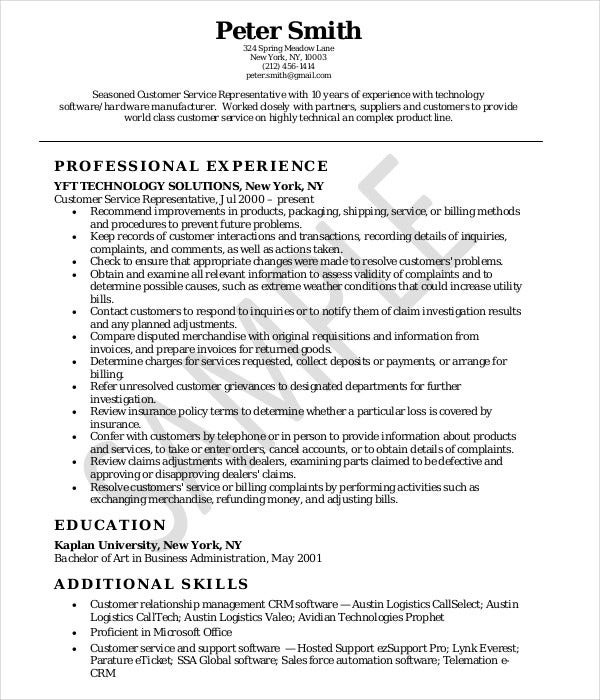 customer service representative resume sample customer service representative resume samples - Sample Of Customer Service Representative Resume