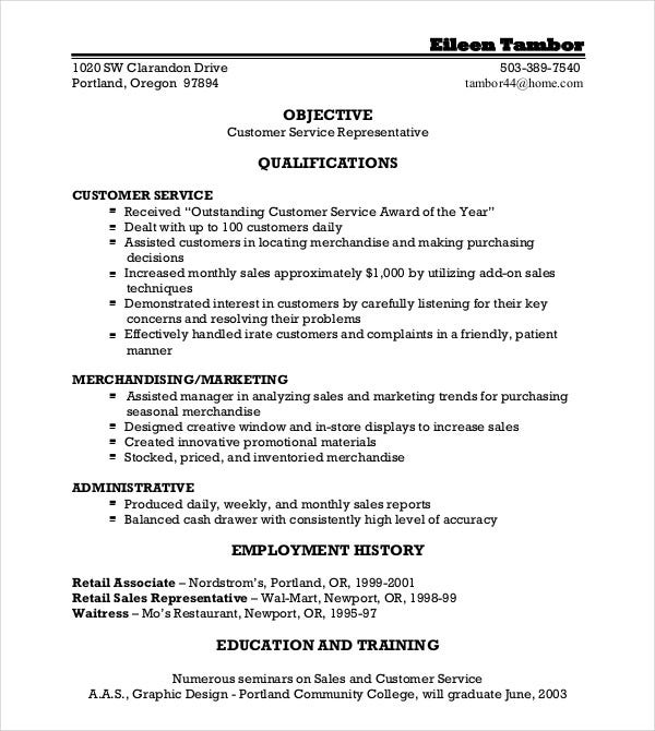 Retail Sustomer Service Resume Template