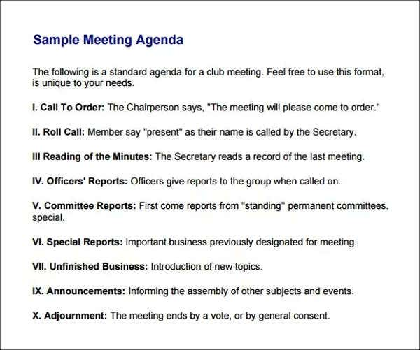 Meeting Agenda Creating A Meeting Agenda MeetingAgendaTheAgenda
