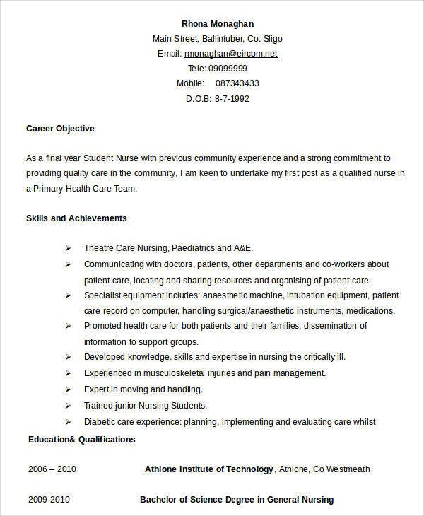 8 Sample Nursing Student Resumes: 24+ Free Word, PDF Documents
