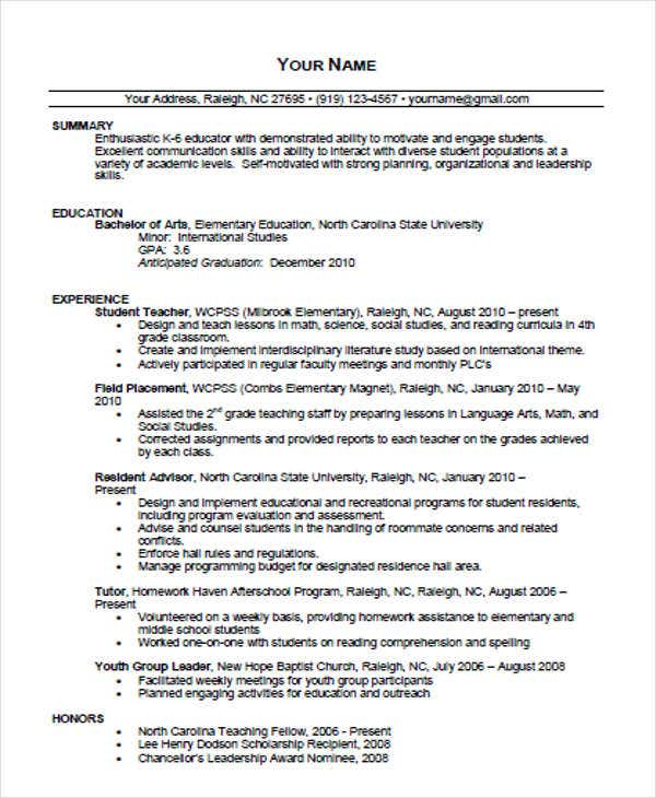 Printable Teacher Resume Templates  Free  Premium Templates