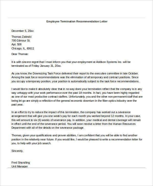 Sample reference letter for employee fired 11 reference letter for terminated employee sample spiritdancerdesigns Gallery