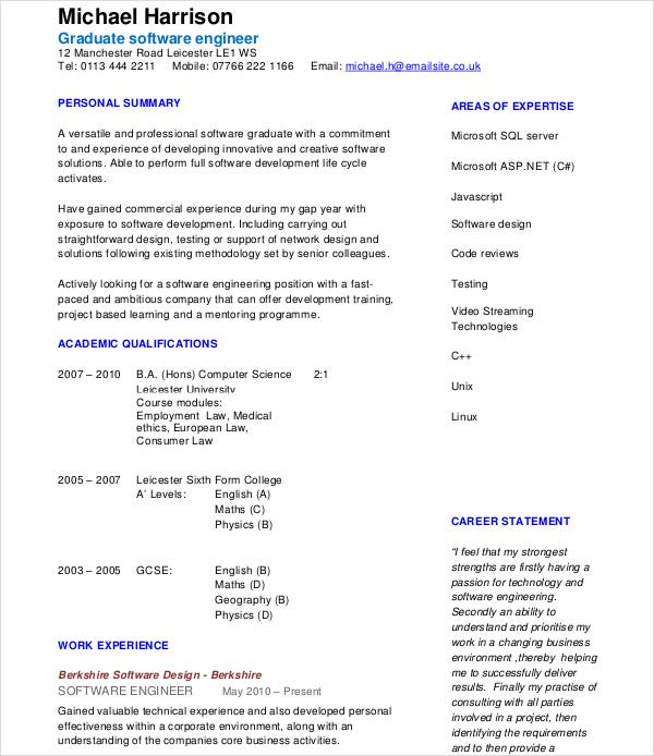 Modern Resume Templates 42 Free PSD WordPDF Document Download – Software Developer Resume