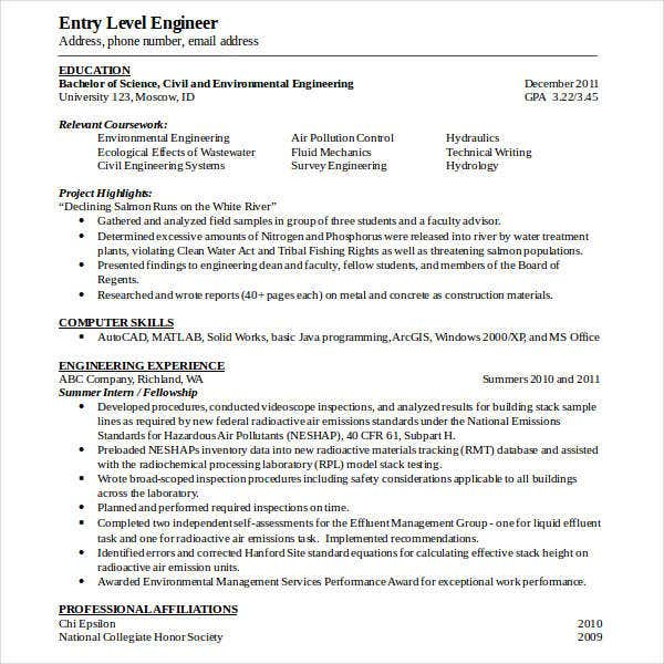 Entry Level Engineering Resume Template