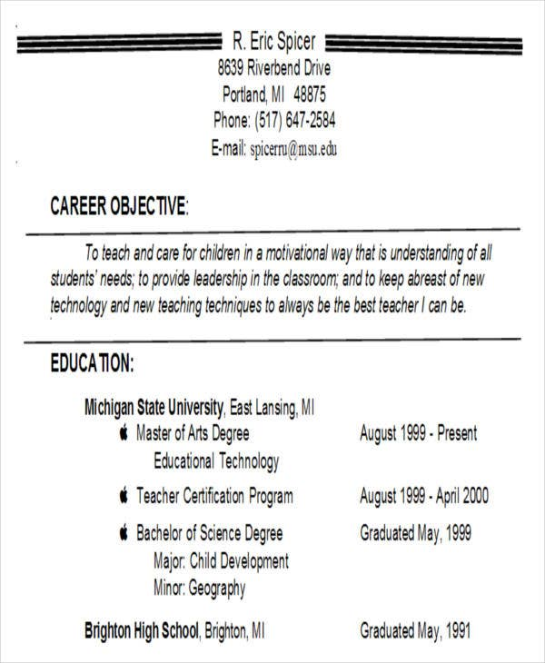 elementary school teacher resume objective1