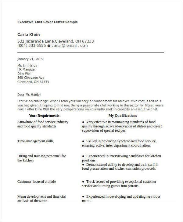 Executive Chef Resume Cover Letter