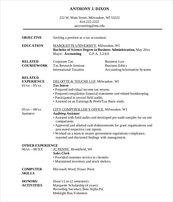 latest chartered accountant resume word format accounting sample