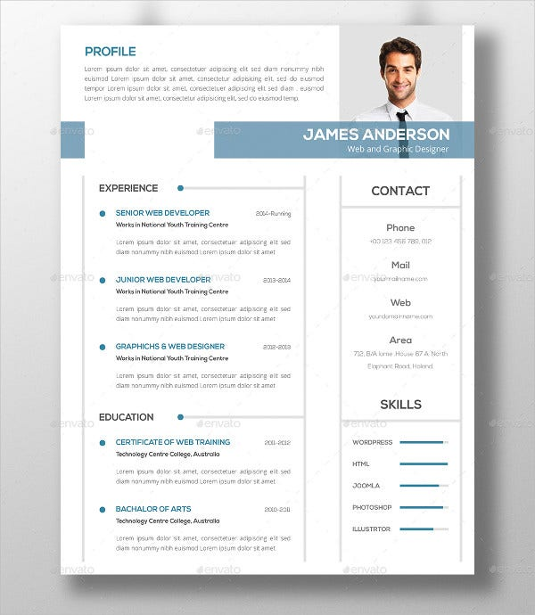 Photo Resume Templates Professional Cv Formats: 46+ Modern Resume Templates - PDF, DOC, PSD