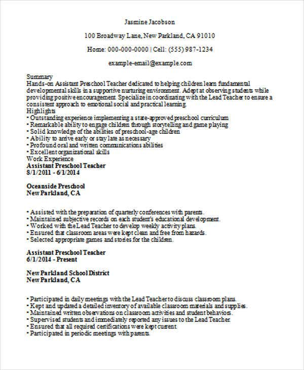 Assistant Preschool Teacher Resume Template