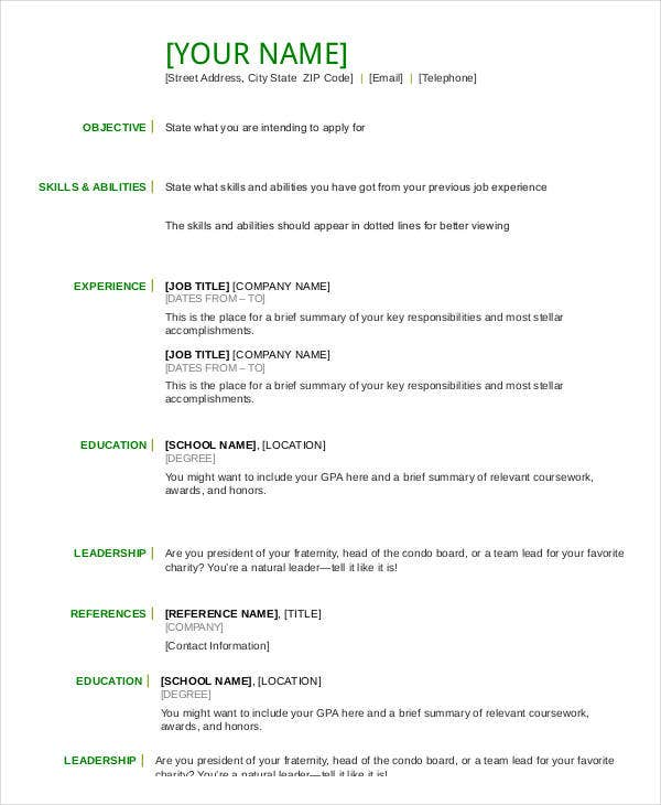 Free Basic Resume Templates Example Resume Resume Template