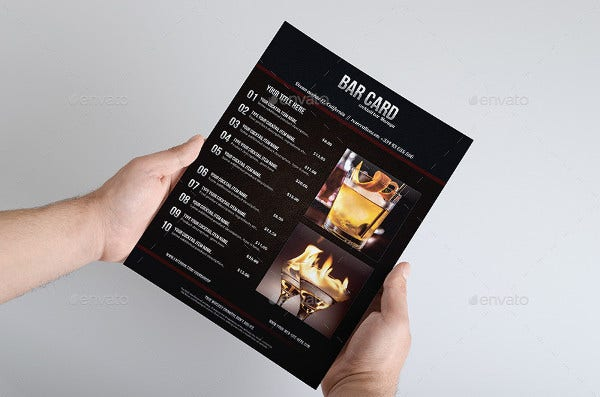 bar menu card