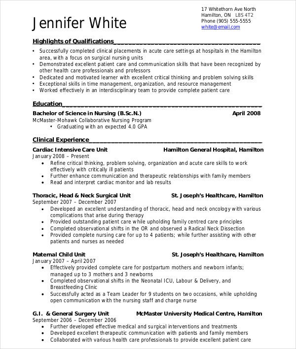 experienced medical resume format - Resume Sample For Bsc Nursing