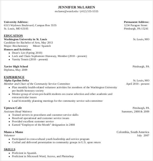 Sample Medical School Admission Resume