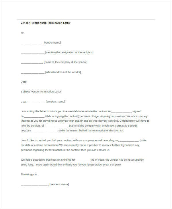 vendor relationship termination letter