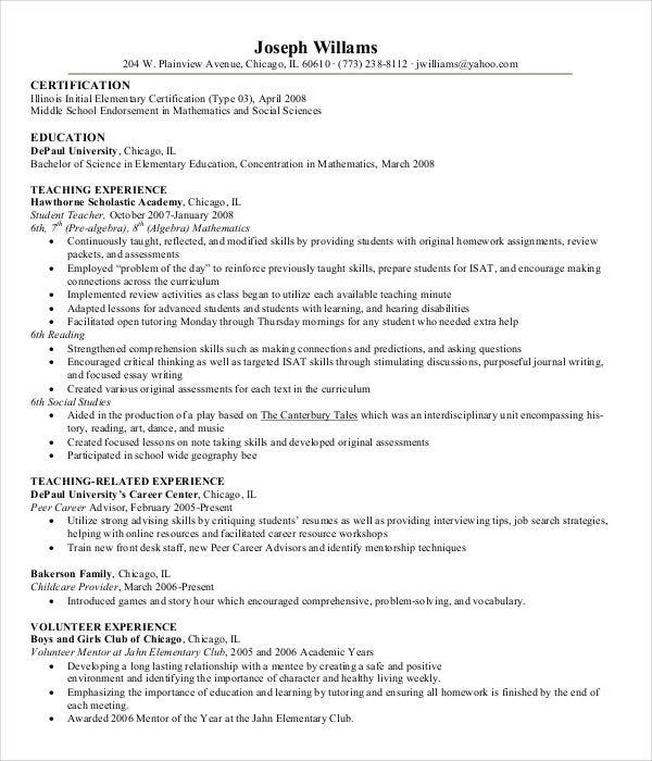 pre school teacher resume template