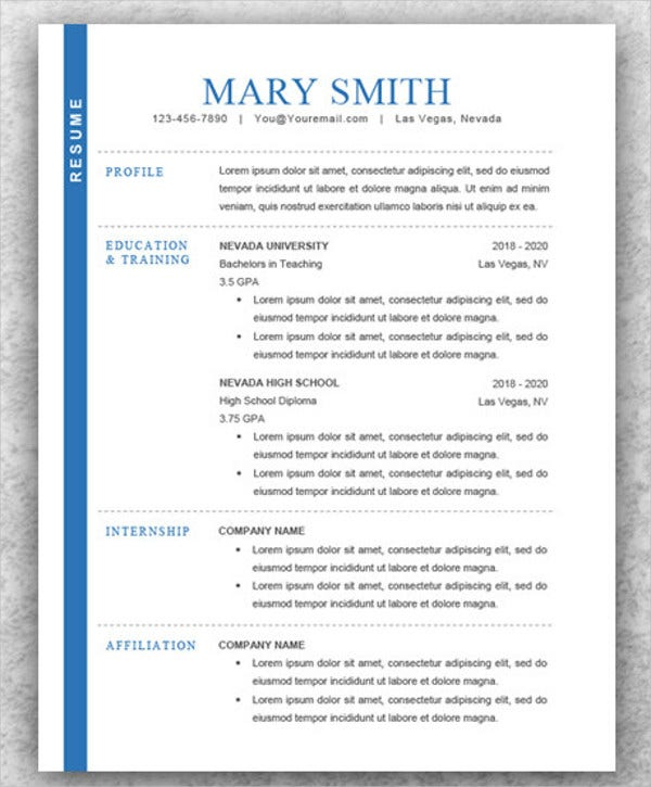 Modern Resume For College Student