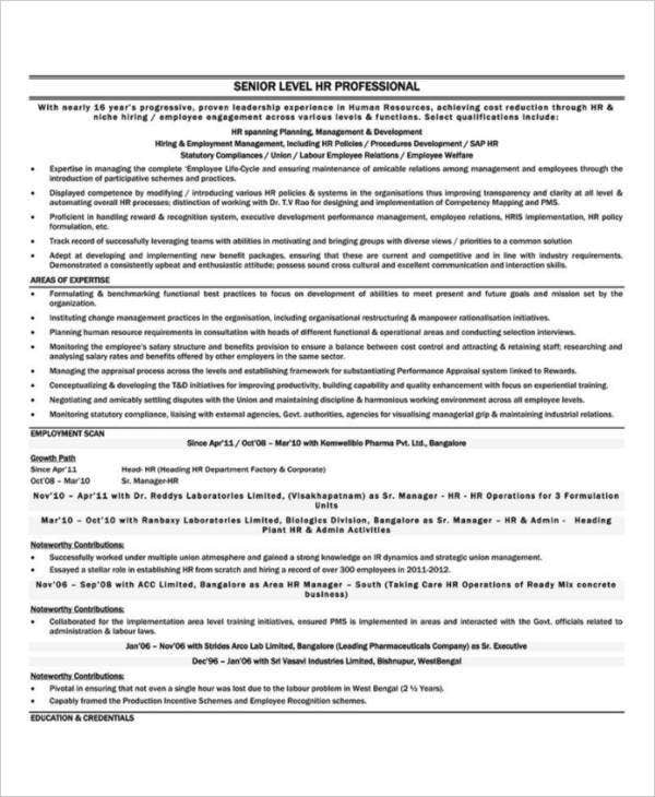 HR Executive Job Resume