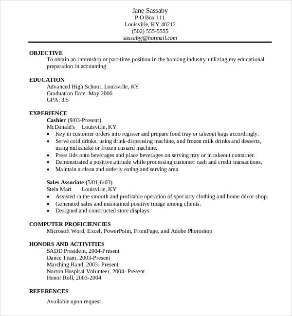 Sample Resume format for High School Student