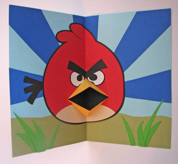angry birds pop up card