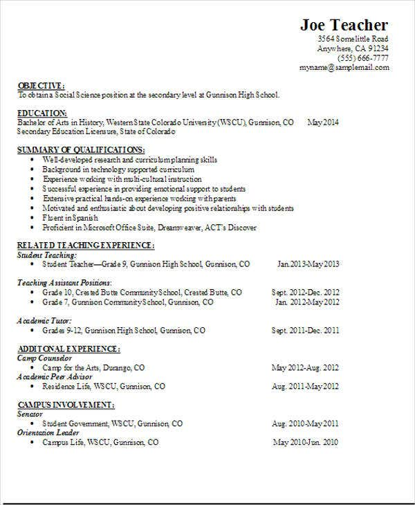 high school business teacher resume template