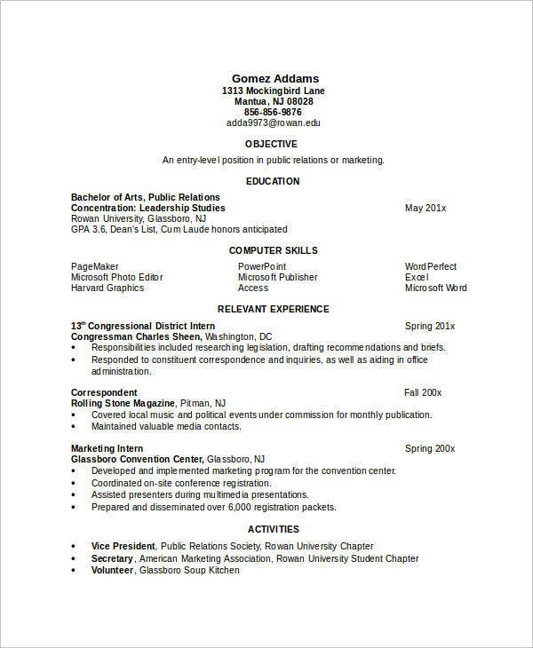 sample resume for engineering student