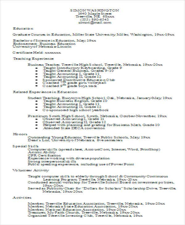 experienced business teacher resume2