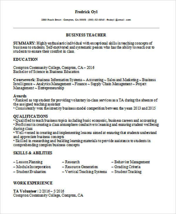 business teacher resume