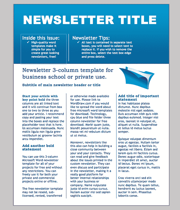 Word Newsletter Template 31 Free Printable Microsoft Word – Business Newsletter
